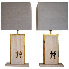 Travertine and Brass J.C. Mahey Signature Table Lamps, Mid-Century Modern