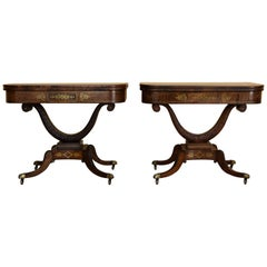 Pair of 19th Century Regency Rosewood and Brass Inlaid Card Tables