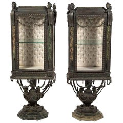 Pair of Continental Louis XIV-Style Cast-Zinc Curio Cabinets