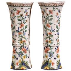 Pair of 19th Century French Hand-Painted Faience Vases from Normandy