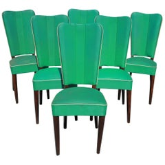 Set of Six French Art Deco Solid Mahogany Dining Chairs by Jules Leleu Style
