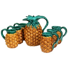 Mid-20th Century French Hand-Painted Barbotine Pineapple Bar Set from Vallauris