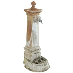 Late 19th Century Italian Iron Village Fountain with Bronze Dolphin Head Spigot