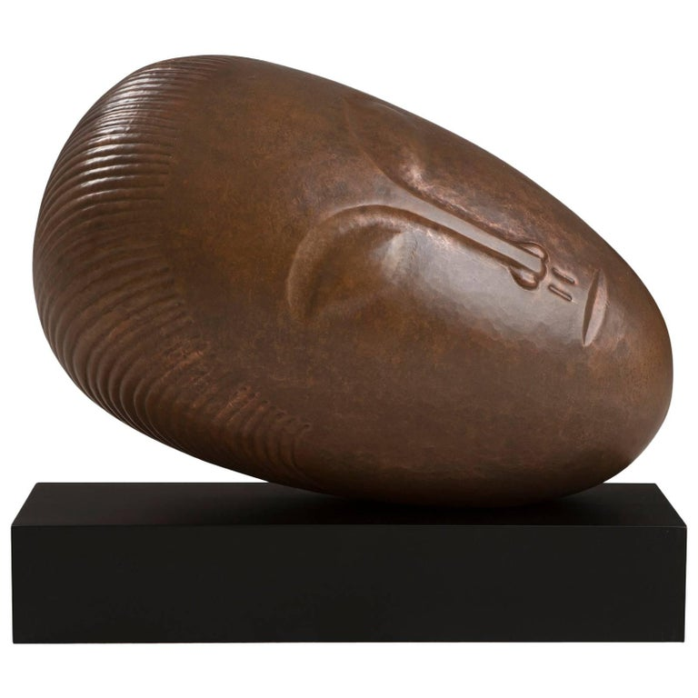 Rest Head Sculpture in Hand-Hammered Copper on Base