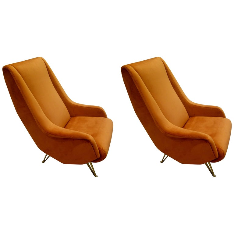 Pair of Midcentury Italian Burnt Orange Tall Lounge Chairs Attributed to ISA