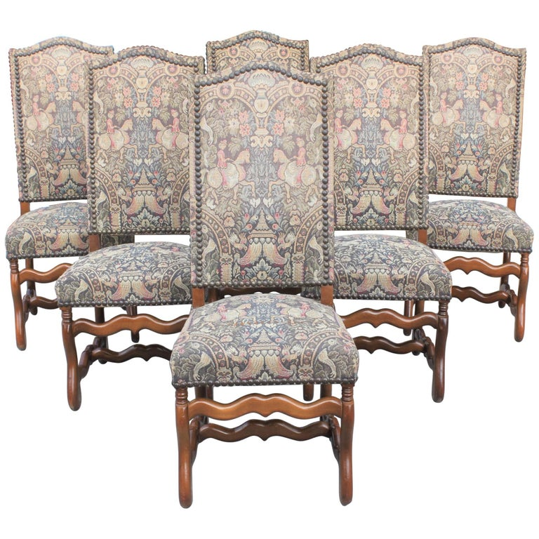 Monumental Set of Six French Louis XIII Style Os De Mouton Dining Chairs