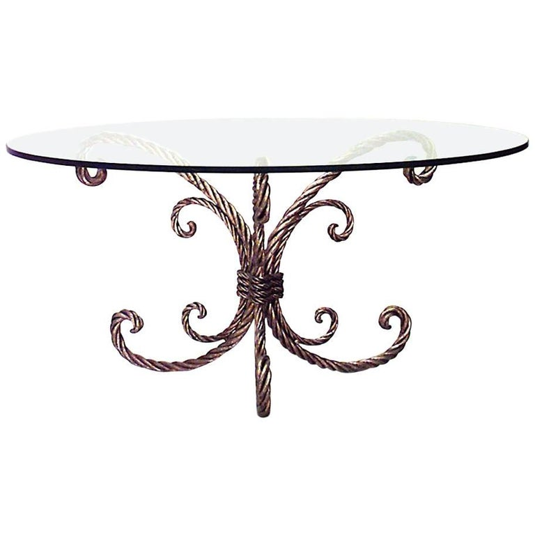 Art Moderne Rope and Tassel Design Gilt Metal Round Glass Top Coffee Table