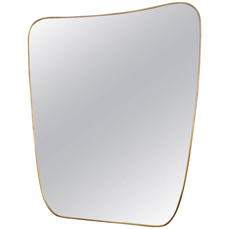 Large Brass Midcentury Italian Shaped Mirror For Sale