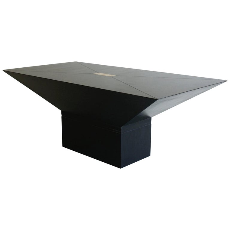 1970s or 1980s Black and Brass Rectangular Coffee Table For Sale