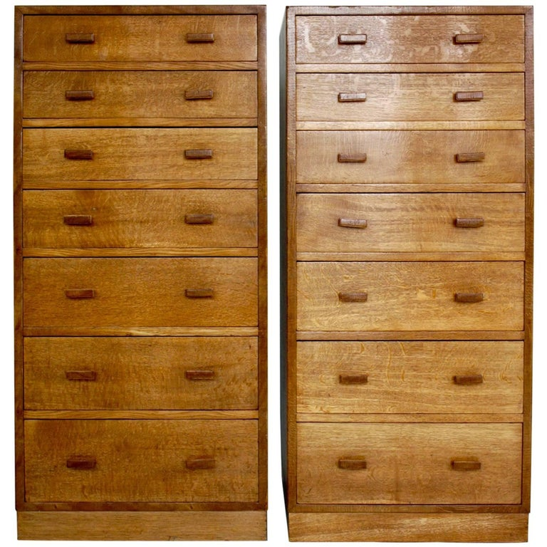 Pair of Tall and Thin Chests of Drawers, Dressers 1940s, Possibly Heals, UK
