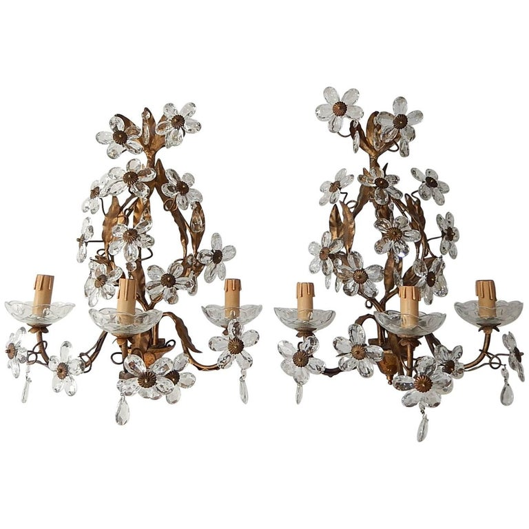 Three-Light Maison Baguès Style Crystal Flower Sconces