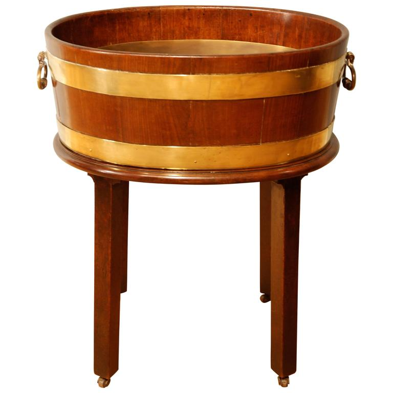 18th Century Oval Mahogany Brass Bound Wine Cooler/Planter