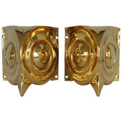 French Art Deco Gilt Bronze Stylized Owl Sconces Acquired in the South of France
