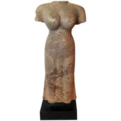 Hand-Carved Sandstone Statue, Female, Late 20th Century