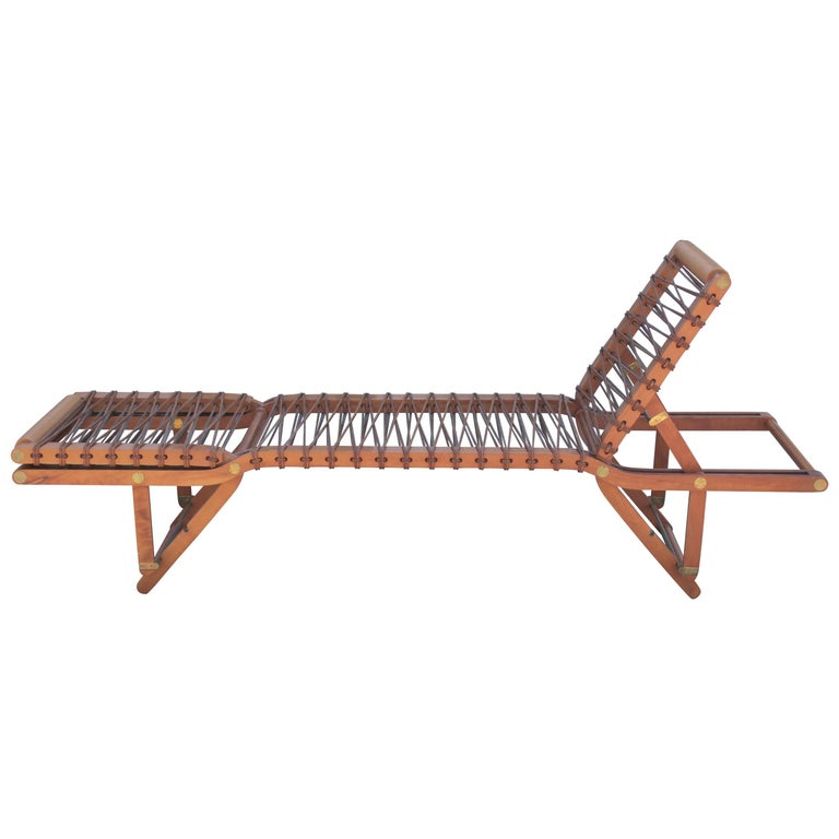 Modern Pearwood and Leather Hermès Pippa Reclining Chaise Longue