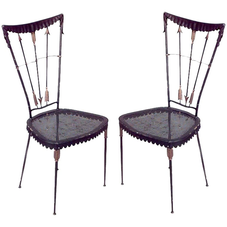 Pair of French 1940s Black Metal Painted Side Chairs