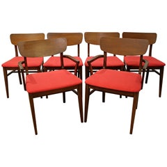 Set of Six Mid-Century Modern Curved Back Red Walnut Dining Chairs