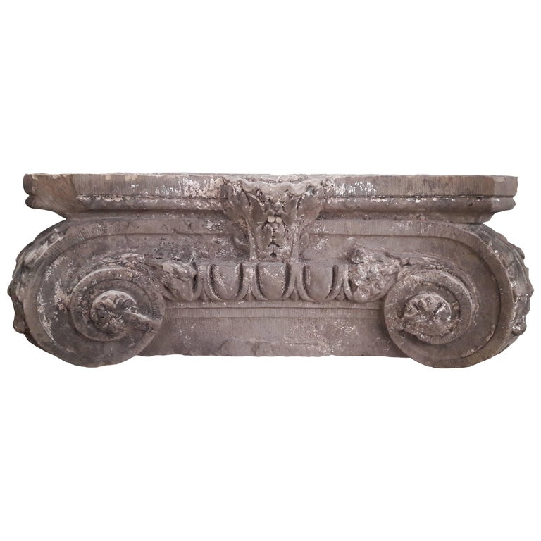 Antique (Early 19th Century) French Stone Column Capital, Ionic Style