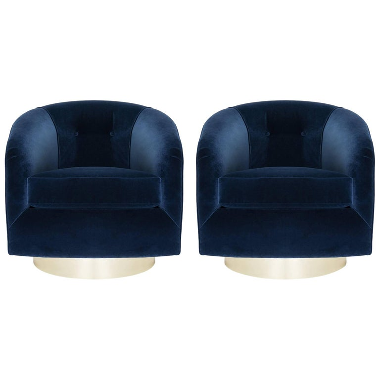 Swivel Tub Chairs in Navy Velvet with Polished Brass Bases, Pair For ...