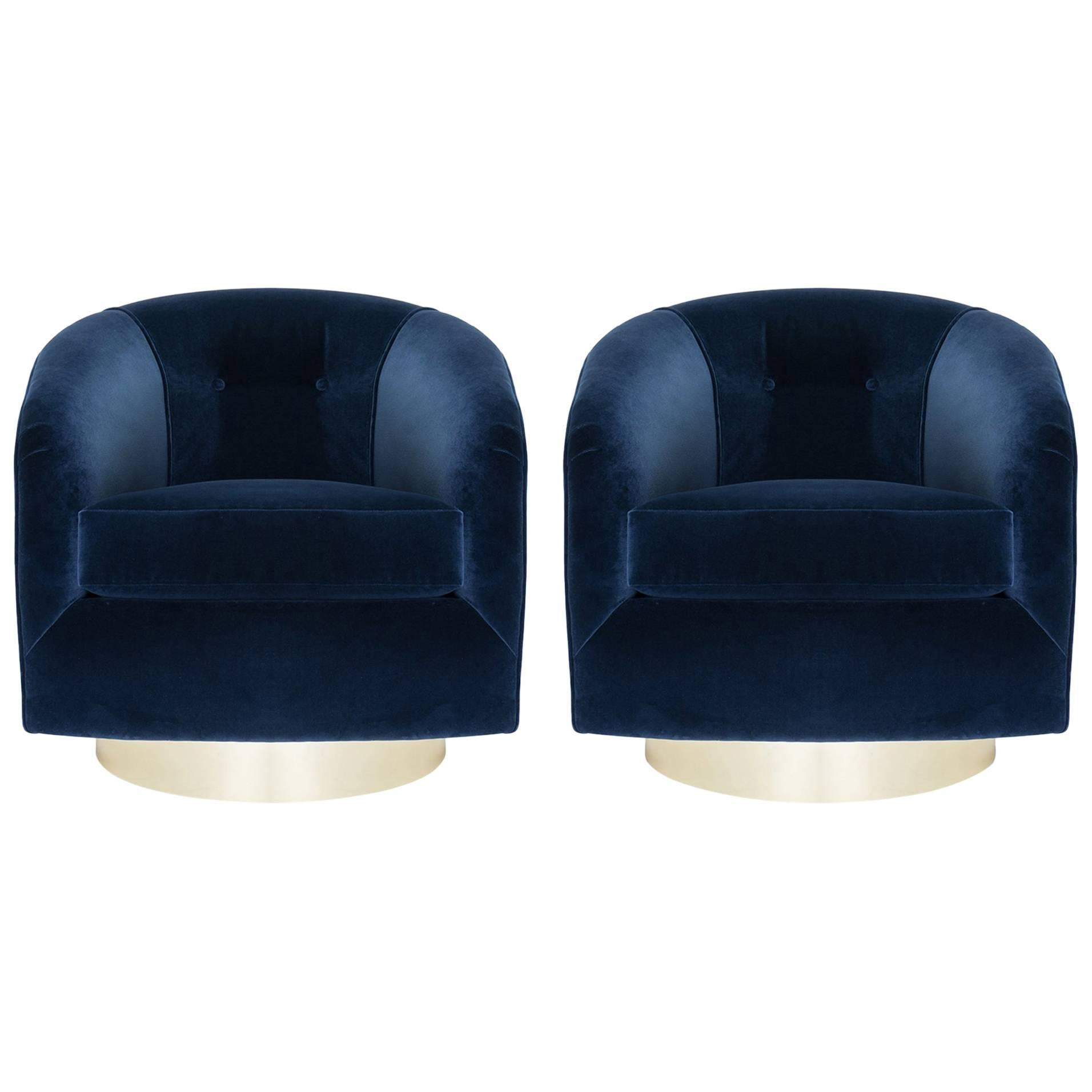 Swivel Tub Chairs In Navy Velvet With Polished Brass Bases, Pair