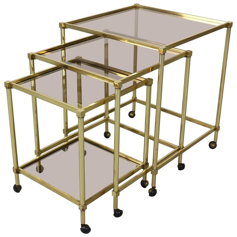 Set of Three Midcentury French Brass Nesting Tables with Glass Top
