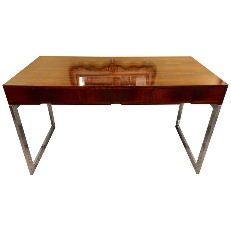 Quality Mid-Century Modern Rosewood Desk on Chrome Base
