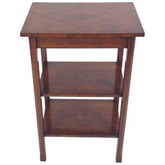 Art Deco Walnut Three-Tier Table with Cross Banded Top