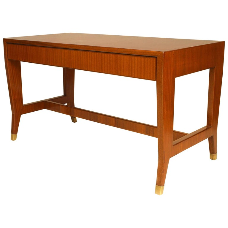 Italian 1930s Mahogany Table Desk