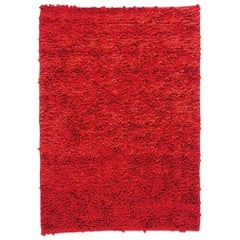 Roses Red Hand-Loomed Wool Dyed Felt Rug by Nani Marquina in Stock, Small