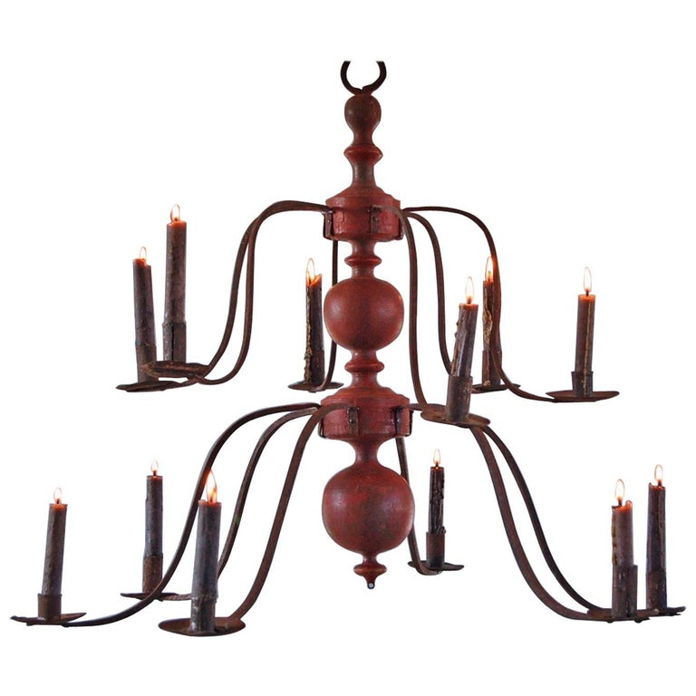 Swedish Baroque Iron Church Chandelier, circa 1680-1720 For Sale