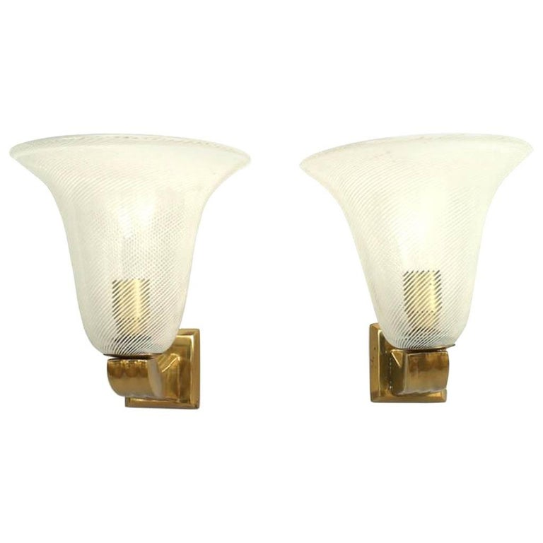 Pairs of Italian 1940s Wall Sconces