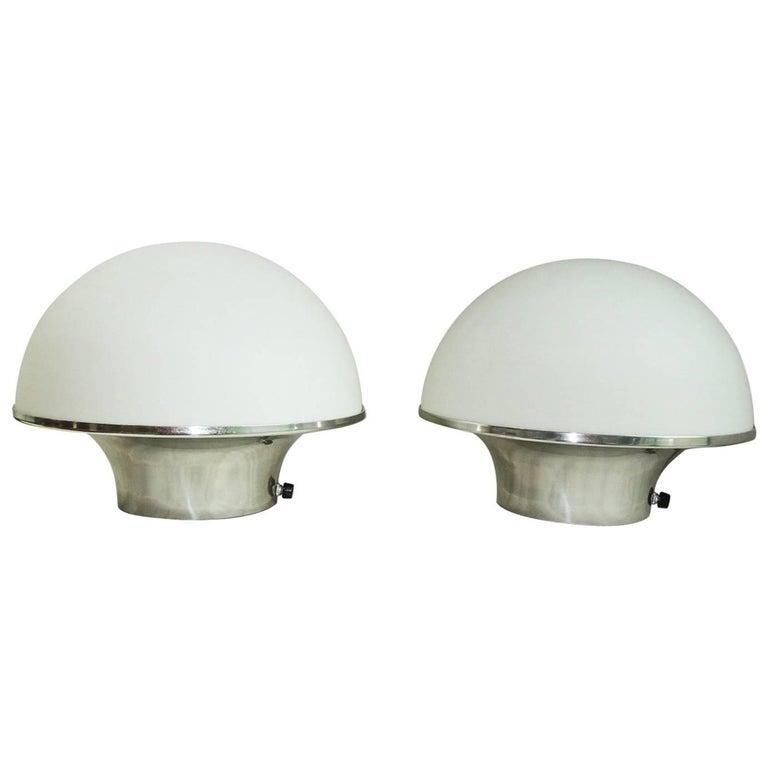Pair of Glass Mushroom Table Lamps, Aluminium Base