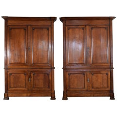 Pair of French Late Restauration Period Light Oak Four-Door Cabinets