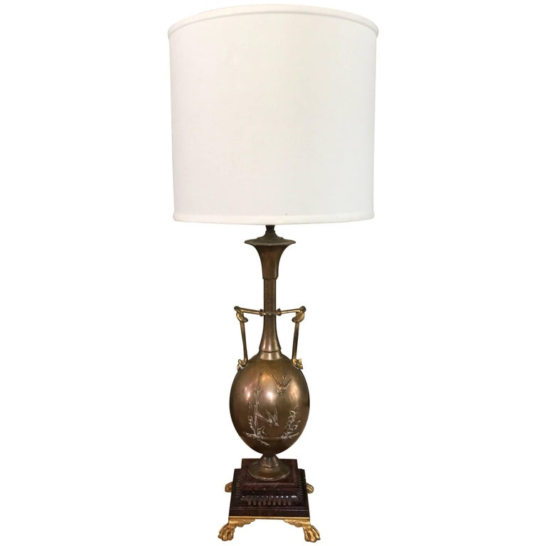 19th Century French Brass Barbedienne Lamp Designed by Henry Cahieux For Sale