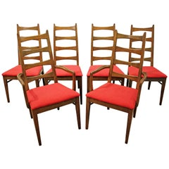 Set of Six Mid-Century Modern Walnut Bow Tie Dining Chairs