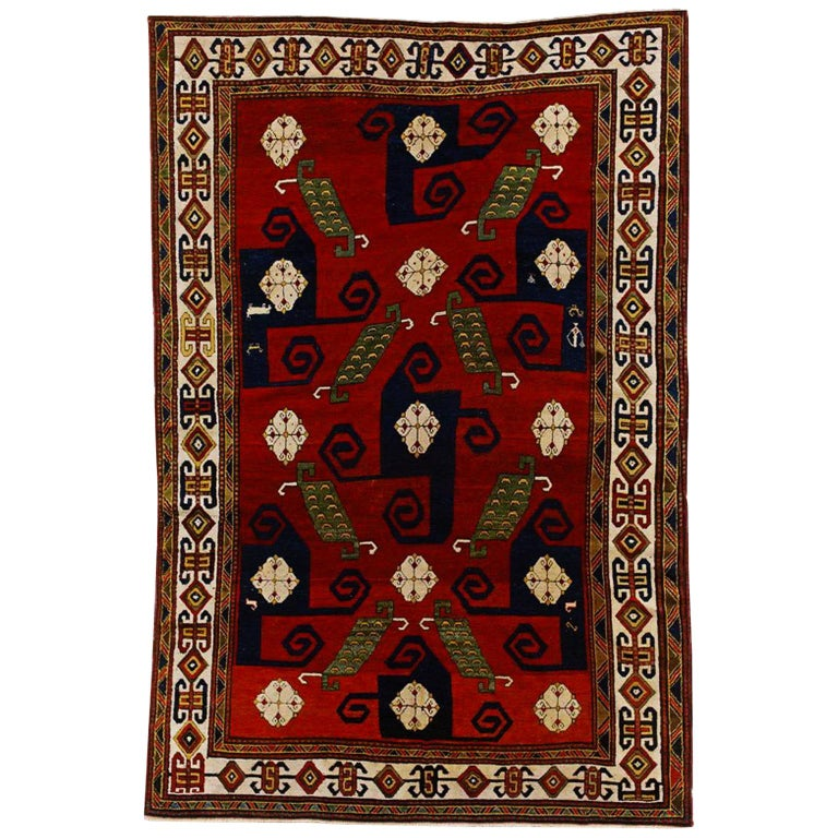 19th Century Kazak Pinwheel Crab Caucasian Rug Hand-Knotted Red Blue Green White For Sale