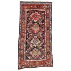 Antique Caucasian Bordjalou Kazak Tribal Rug, Wide Hallway Runner