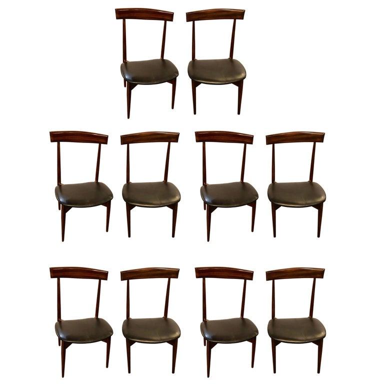 Set of Ten Mid-Century Modern Slat Back Black Leather Dining Chairs