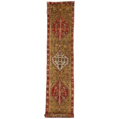 Antique Caucasian Tribal Runner, Hallway Runner