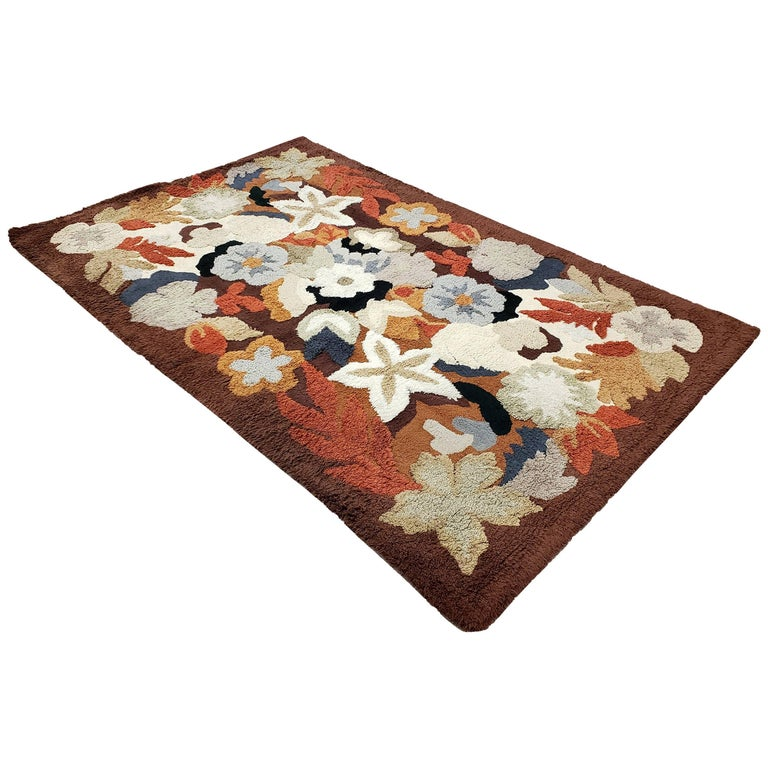 Mid-Century Modern 1960s Floral Motif Hand-Knotted Wool Rug