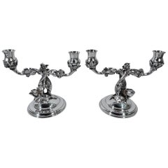 Pair of German Sterling Silver Two-Light Rose Branch Candelabra