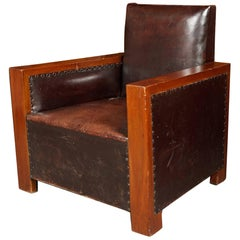 Graphic French Art Deco Walnut and Leather Club Chair