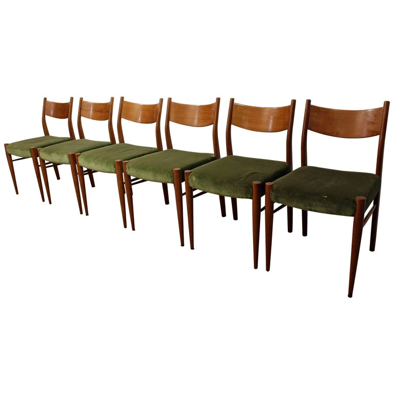 Set of Six Danish Modern Teak Curved Back Dining Chairs