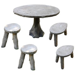 Vintage French Faux Bois Table and Four Stools