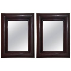 Pair of Solid Wooden Framed Mirrors, Indonesia 1990