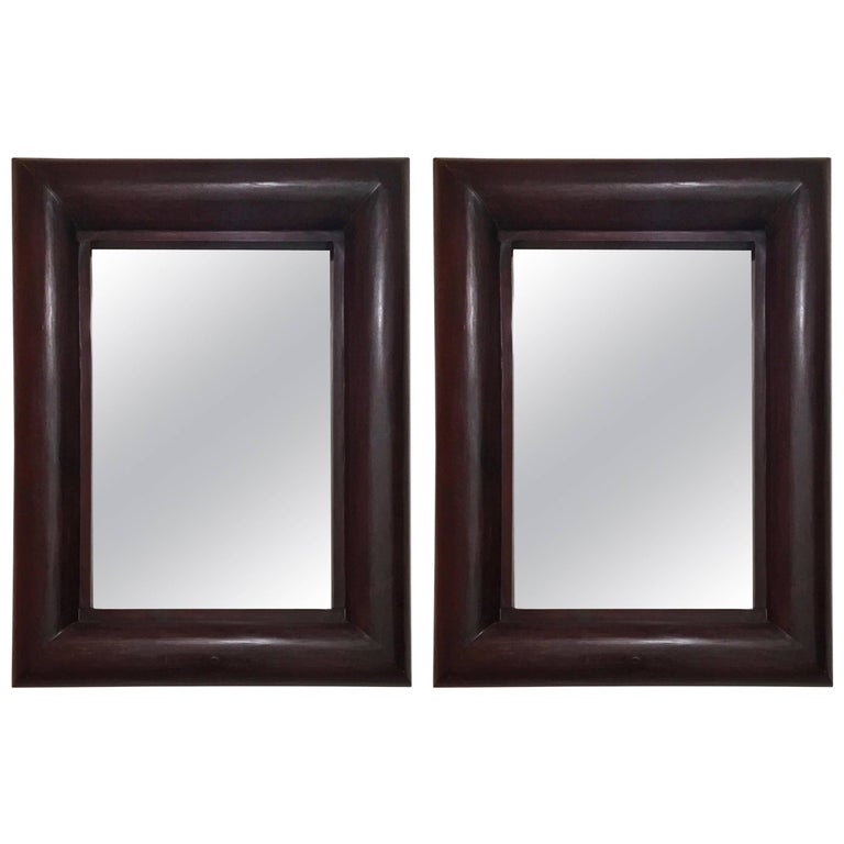 Pair of Solid Wooden Framed Mirrors, Indonesia 1990 For Sale at 1stdibs