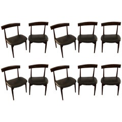 Set of Ten Rosewood Mid-Century Modern Slat Back Chairs with Leather Seats