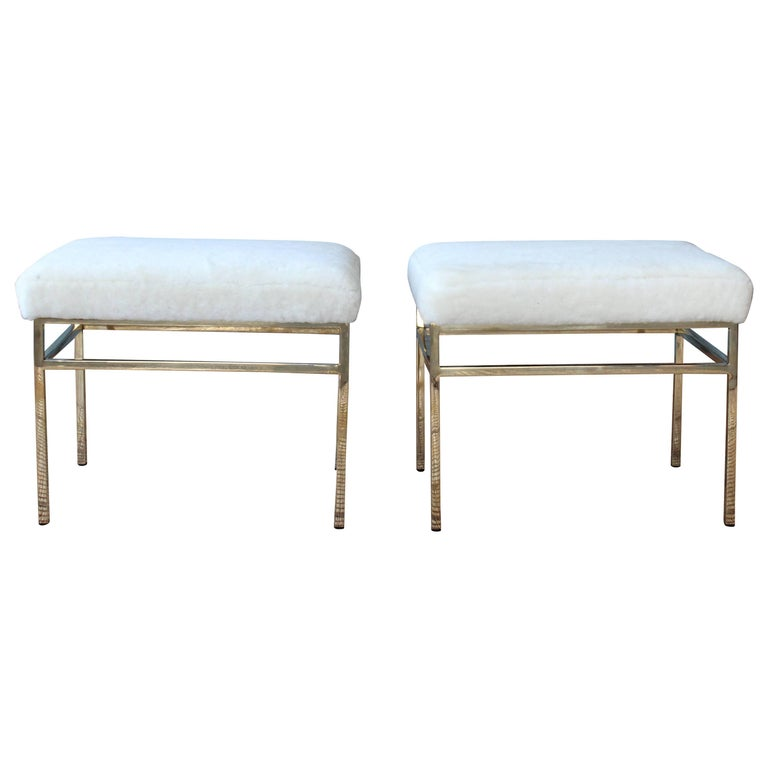 Pair of Brass Stools with Shearling Seats