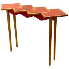 Postmodern Memphis Era Hand-Painted Zig-Zag Entry Table