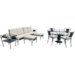 Mid-Century Modern Russell Woodard Wrought Iron Ten-Piece Patio Set